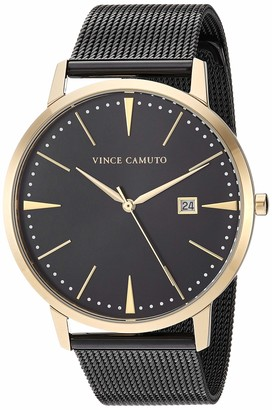 Vince Camuto Women's VC/5301GPBK Date Function Gold-Tone and Black Mesh Bracelet Watch