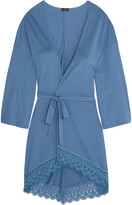 Cosabella Edith guipure lace-trimmed Pima cotton and modal-blend robe