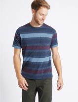 Marks and Spencer Pure Cotton Striped Crew Neck T-Shirt
