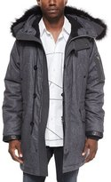 Rag & Bone Mixed Media Parka with Fur-Trimmed Hood, Charcoal