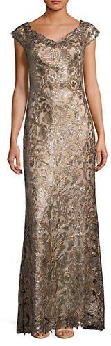 Tadashi Shoji Off-the-Shoulder Sequin Gown