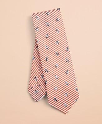 Brooks Brothers Anchor Print Stripe Silk Tie