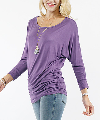 Lydiane Women's Tunics LILACGREY - Lilac Gray Long-Sleeve Ruched-Side Dolman Top - Plus