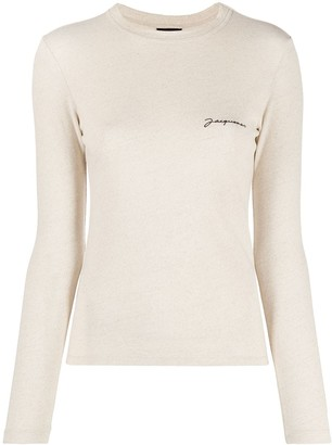 Jacquemus embroidered logo long sleeve T-shirt