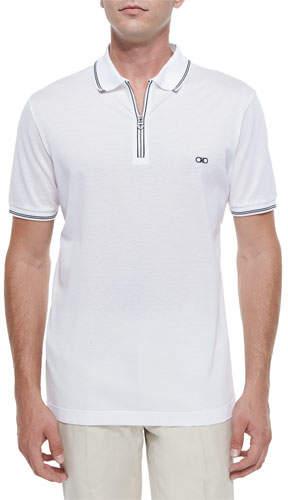 Salvatore Ferragamo Men's Cotton Pique Zip Polo Shirt with Gancini Chest Embroidery, White/Navy