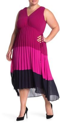 Taylor Pleated Sleeveless Colorblock Midi Dress (Plus Size)