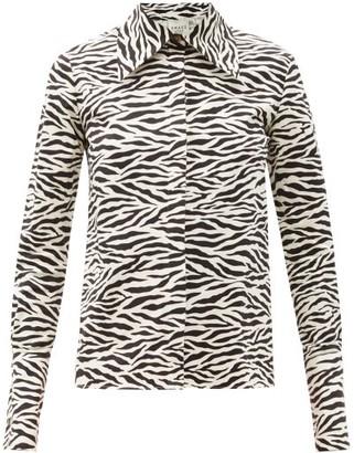 A.W.A.K.E. Mode Point-collar Zebra-print Cotton Shirt - Black Print