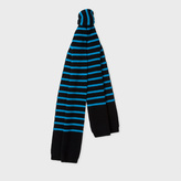 Paul Smith Men's Neon Blue Stripe Lambswool Scarf