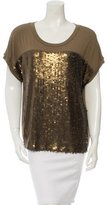 Rachel Zoe Sequined Short Sleeve Top