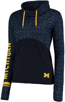 Colosseum Women's Navy/Black Michigan Wolverines Scaled Cowl Neck Pullover Hoodie