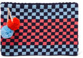 Sophie Anderson Lia Pompom-embellished Woven Clutch