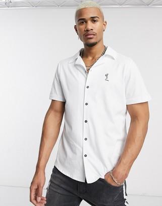 Religion revere collar jersey shirt in white