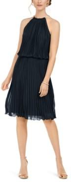 MSK Pleated Halter Fit & Flare Dress
