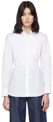 MM6 MAISON MARGIELA White Waist Cinching Bib Shirt