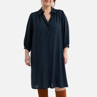 La Redoute Collections Plus Shirt Midi Shift Dress with 3/4 Length Puff Sleeves