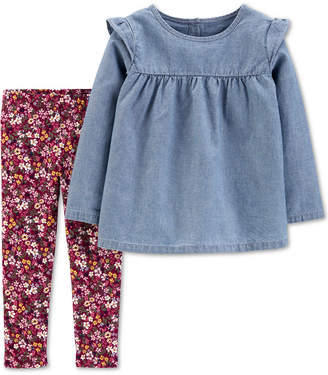 Carter's Carter Baby Girls 2-Pc. Chambray Top & Floral-Print Leggings Set