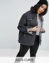 Asos Denim Girlfriend Jacket in Washed Ozzy Black