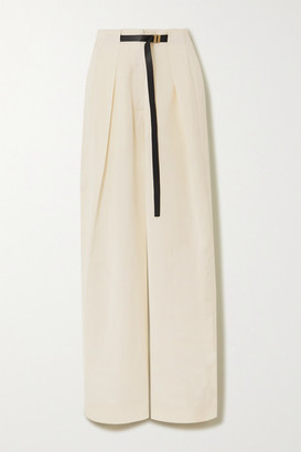 The Row Brona Belted Silk And Linen-blend Wide-leg Pants - Ivory