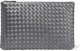 Bottega Veneta Metallic Intrecciato Leather Pouch - Silver