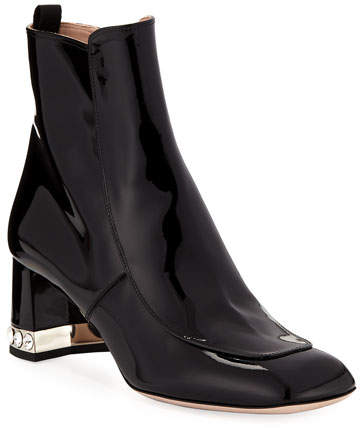 aeff55cff6e Patent Leather Block-Heel Ankle Boots
