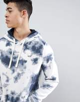 Hollister Ink Splatter Icon Seagull Logo Hoodie in Navy/White