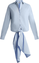 Maison Margiela Point-collar tie-waist cotton shirt