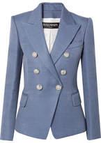Balmain Double-breasted Wool-hopsack Blazer - Blue