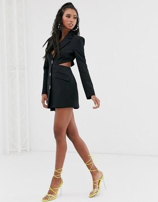 Asos Design DESIGN cut out side suit blazer with fancy buttons-Black
