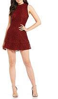 Blu Pepper Lace Mock Neck Sleeveless Sheath Dress