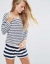 Asos Contrast Stripe Navy Long Sleeve Tee & Short Pajama Set