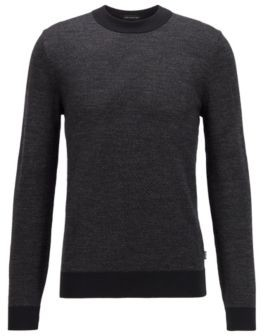 HUGO BOSS Jacquard Knitted Sweater In Virgin Wool With Abstract Pattern - Black
