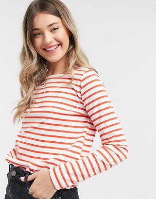 Pieces ingrid long sleeve top in red stripe