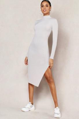 boohoo Jumbo Rib High Neck Split Midi Dress