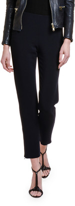 Giorgio Armani Textured Stretch-Wool Slim-Leg Pants w/ Zip Cuffs