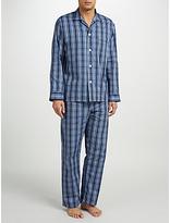 Derek Rose Check Woven Cotton Pyjamas, Navy