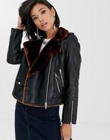 Blank NYC faux fur lined biker jacket
