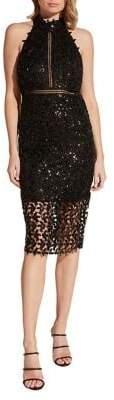Bardot Sequin-Embellished Leaf Halter Sheath Dress