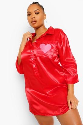 boohoo Plus Heart Embroidered Satin Nightshirt