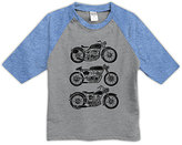 Urban Smalls Heather Gray & Blue Motorcycles Raglan Tee - Toddler & Boys