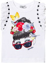 MonnaLisa White Girl Print Tee with Lace Frill Sleeves
