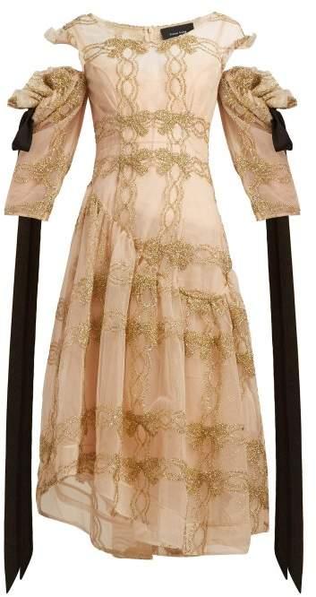 Simone Rocha Tinsel Trim Asymmetric Tulle Dress - Womens - Gold