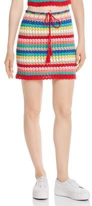 Wildfox Couture Stassi Rainbow-Stripe Crochet Skirt