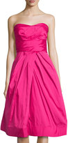 Monique Lhuillier Strapless Pleated Bodice Dress, Pink