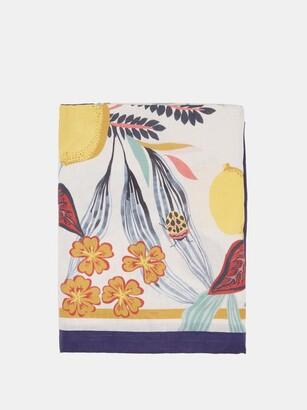 La DoubleJ Botanical-print 280cm X 180cm Linen Tablecloth - White Multi