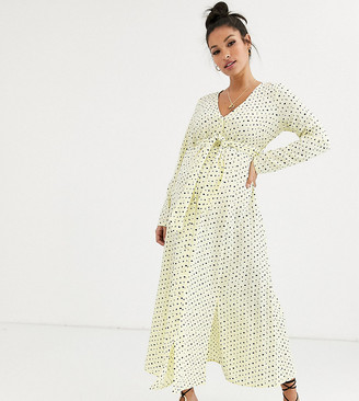 ASOS DESIGN Maternity midi dress with buckle belt in spot print