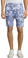 Sol Angeles Palm-Print Drawstring Shorts, Blue