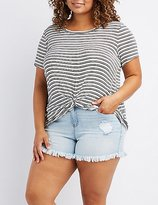 Charlotte Russe Plus Size Knotted Boyfriend Tee
