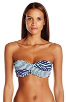 Anne Cole Women's Best Fronds Forever Twist Front Bandeau Bikini Top