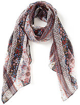 Collection 18 Runaway Floral Striped Oblong Scarf
