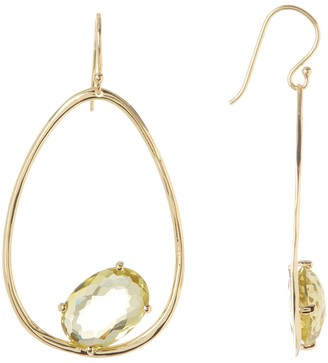 Ippolita 18K Gold Rock Candy Wire Earrings with One Large Oval Stone in Green Gold Citrine